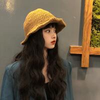 秋冬日系毛线渔夫帽可任意凹造型手工帽子女韩版潮百搭