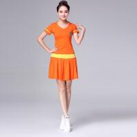 杨丽萍夏新款套装水兵舞纯棉舞蹈服演出跳操运动表演女 1171桔黄裙套装 M