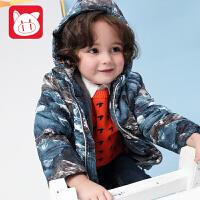 小猪班纳童装男宝宝棉衣2018冬装男童棉服外套小童加绒保暖棉袄男