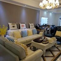 美式真皮沙发头层牛皮位小户型地中海客厅皮艺羽绒沙发 2.6米四人++老虎椅脚踏