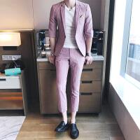 夏季型男绅士条纹中袖小西装修身免烫韩版男士西服九分裤两件套装