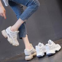 户外内增高老爹鞋女时尚百搭厚底透气休闲运动小白8cm
