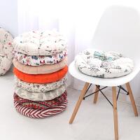 客厅餐厅椅垫简约地上懒人榻榻米垫子圆形坐垫棉麻加厚家用沙发