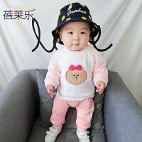 婴儿衣服装新生儿0岁6月男女宝宝上衣加绒加厚卫衣冬季装