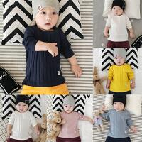 婴儿春秋上衣新生儿T恤套头衫 宝宝长袖弹力打底衫 0-1岁圆领坑条