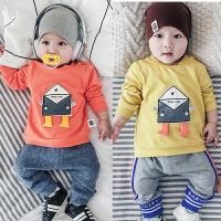 婴儿春秋上衣宝宝套头衫满月秋装新生儿周岁卡通衣服0-1岁外出服