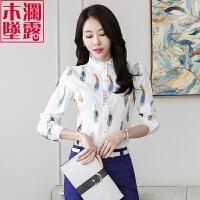长袖印花雪纺衬衫女士2018春装新款韩版立领上衣白碎花打底花衬衣