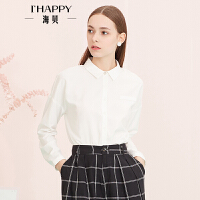 【2件5折】【8.23上新】海贝年春季新款女 翻领纯色长袖雪纺衬衫