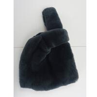 包包女2018新款毛毛包獭兔毛水桶包手拎手提包拼色爱心皮草冬季包
