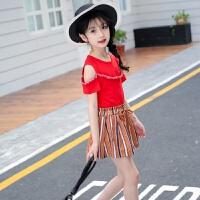 女童套装2018夏装新品5中大儿童韩版休闲时尚露肩T恤短裤两件套潮