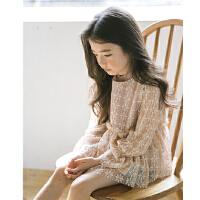 女童春秋上衣新款2018 韩版儿童女孩洋气喇叭袖公主娃娃衫中大童