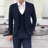 新郎西服套装男三件套修身英伦格子西装韩版休闲结婚礼服婚礼伴郎
