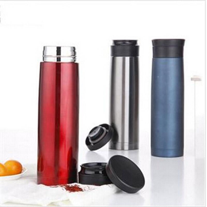 普润 420ML全304不锈钢车载杯 便携式双层保温杯 高端保温瓶 银色