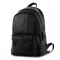 英伦男士真皮时尚潮流双肩包男韩版学生休闲书包运动旅行包电脑包 黑色