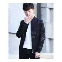 外套男韩版2018新款男士潮流迷彩修身帅气夹克春秋装青少年外衣潮 黑色
