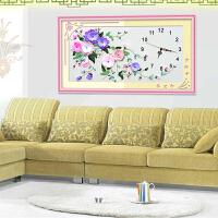 5D印花丝带十字绣新款丝带绣 花卉客厅卧室装饰钟表挂画 牵动X-00039