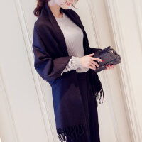 欧美季女两用长款纯色保暖加厚仿羊绒围巾大披肩女
