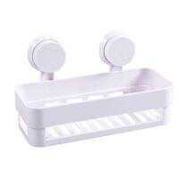 浴室方形强力双吸盘置物架 浴室卫生间收纳架 白色