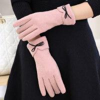 优雅骑车保暖可爱学生韩版毛绒全指手套骑行触摸屏手套女