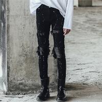 裤子夜店膝盖破洞拼皮拼接褶皱泼漆韩版修身男牛仔裤