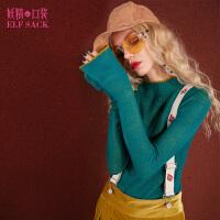 妖精的口袋Y说故事冬装新款修身高领喇叭袖薄款套头毛衣女