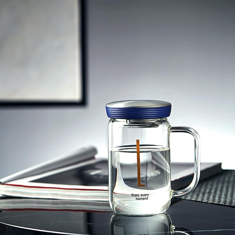 当当优品 带滤网花茶玻璃水杯350ml 简悦系列 当当自营 密封杯盖 加厚杯壁 出水顺畅 耐高温