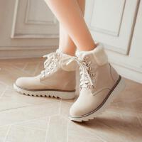 雪地靴女短筒棉鞋冬靴秋冬新款平底短靴厚底台系带女靴