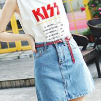 韩国简约百搭真皮女式牛仔裙裤子棕色复古小皮带配裙装饰细腰带女