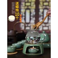 龙泉青瓷家用陶瓷蜡烛煮茶器家用陶瓷日式复古加热底座日式酒精灯保温茶炉