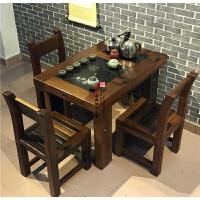 老船木茶桌椅组合新中式家具实木功夫茶台办公室小型客厅阳台茶几 整装