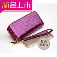 真皮钱包女长款大容量女士手包双拉链女式钱夹子牛皮大钞夹新款潮 紫色 紫色钻石,亮皮款
