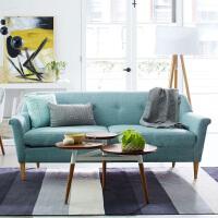 北家现代简约实木沙发 欧式棉麻布艺沙发单人双人三人沙发