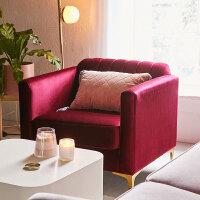 北欧沙发小户型客厅简约轻奢三人位美式后现代布艺丝绒单人沙发 +