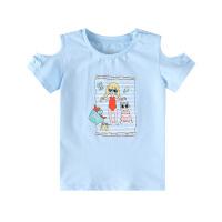 【2件5.5折到手价:52】小猪班纳童装儿童短袖T恤女童上衣宝宝2020新款夏装露肩圆领体恤