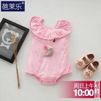 婴儿连体衣服季新生儿宝宝无袖吊带1季外出服0潮款无袖新年