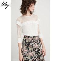 【预估到手价89.8】Lily春夏新款女装透明丝H型气质荷叶边拼接套头衫118230B8319