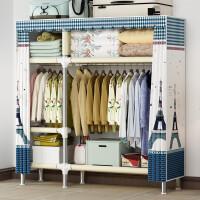 简易布衣柜钢管加粗加固布艺柜加厚钢架收纳柜组装挂衣橱