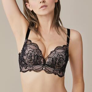 依曼丽小胸聚拢无钢圈舒适调整型内衣 性感蕾丝美背文胸女7121