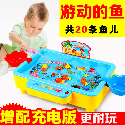 电动磁性钓鱼玩具3-6岁小猫钓鱼小孩玩具带音乐灯光益智儿童玩具