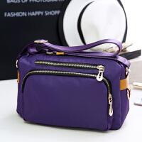 单肩斜挎布包女秋妈妈旅游挎包运动休闲防水尼龙布包女士小包包袋 紫色 尼龙小包