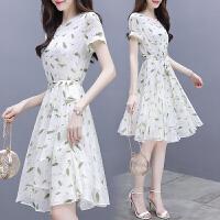 雪纺连衣裙女夏装2018新款女装系带收腰中长裙修身清新气质印花裙