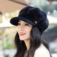 帽子女秋冬时尚韩版潮女式款百搭冬天洋气中年女士冬季鸭舌八角帽