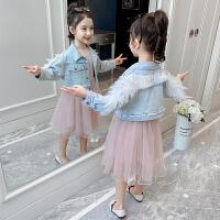 女童套装洋气童装儿童连衣裙女孩牛仔外套裙子两件套春装