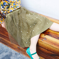 女童半身裙春2018新款童装韩版儿童珍珠百褶雪纺裙半身长裙纱裙潮