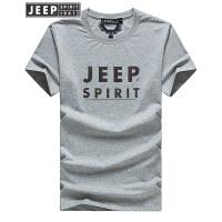 JEEP吉普男士圆领短袖t恤2018夏季新款男装时尚休闲字母T恤薄款打底衫