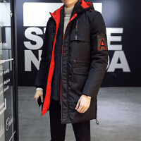 冬季棉衣男青年韩版潮流中长款连帽加厚保暖棉服男袄子冬装外套男