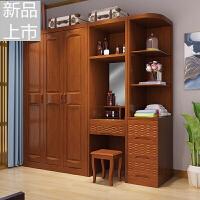 中式实木衣柜简约现代家用3 4 5 整体橡木大衣橱卧室组装家具定制