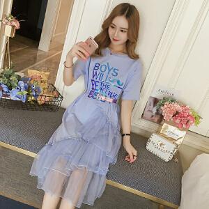 【班图诗妮】2018夏季新款字母T恤裙拼接网纱配腰带韩版时尚休闲连衣裙女