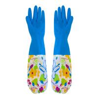 洗衣家务手套加绒保暖手套防水耐用加长加厚乳橡胶厨房洗刷碗家务刷碗洗衣衣服胶皮塑胶清洁家务手套 颜色随机
