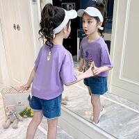 女童t恤夏装儿童圆领上衣夏季网红女孩半袖短袖